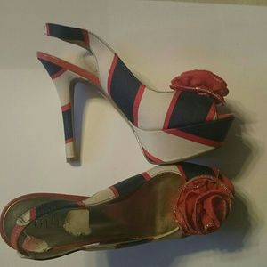 Red, white and blue slingbacks with rosette
